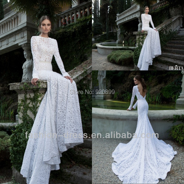 2014 New Gorgeous High Quality Lace Low Back Long Sleeve Lace ...
