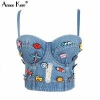 Amee Kerr Jean Cartoon Decoration Bustier Push Up Pad Cropped Top Women's Vest Bralet Bra Plus Size