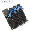 7A Brazilian Human Hair With Closure Deep Wave 4 Pcs/Lot Human Hair Weave Bundles With Closure Brazilian Deep Curly With Closure