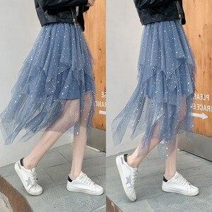 Image 3 - 夏の女性の膝丈プリーツスカートかわいい星のスパンコールシックなスカートスイング不規則なシャイニングビーズチュール女性ファッションスカート