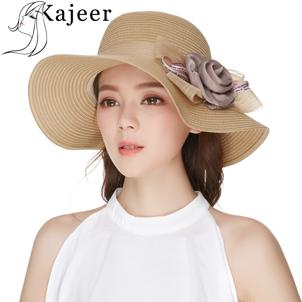 ea043382e5f73 Kajeer Khaki Color Wide Brim Floppy Summer Straw Sun Hat For Women Beach Hat  UV Protect