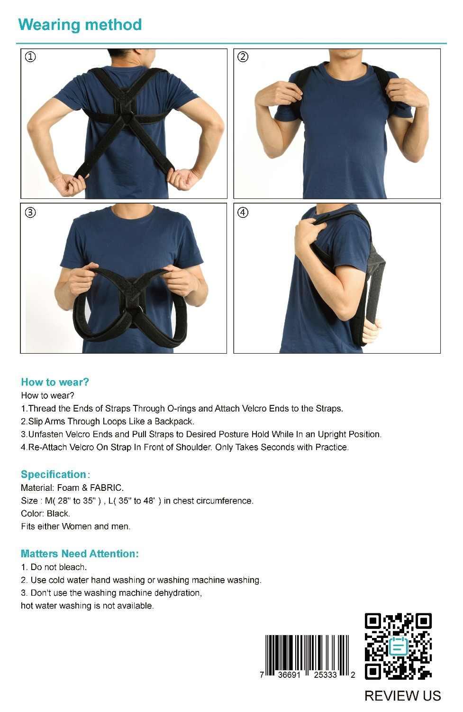 YOSOO Corrector de postura de espalda corsé ortopédico espalda clavícula enderezador correa de soporte de columna vertebral para parte superior del hombro vendaje de soporte