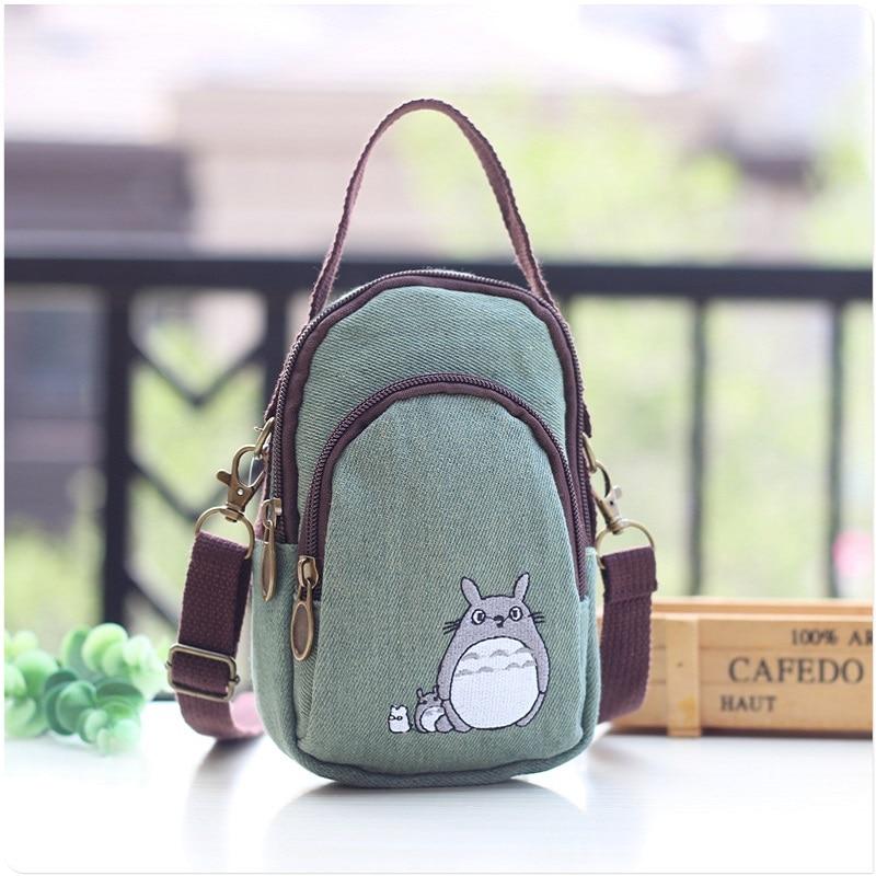 Canvas Cartoon Totoro Women's Coin Purse Children Wallet Small Phone Pouch Kids Money Shoulder Bag Carteira Feminina For Girls