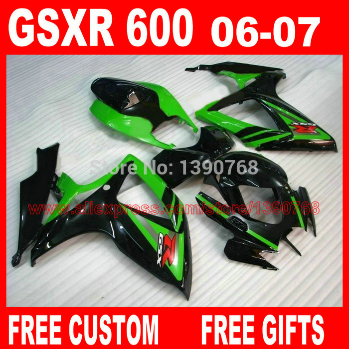 Motorcycle parts for SUZ UKI fairings GSXR600 GSXR 750 06 07 green black ABS fairing kit 2006 2007 gsxr600 gsxr750 K6 VF3 new motorcycle ram air intake tube duct for suzuki gsxr600 gsxr750 2006 2007 k6 abs plastic black
