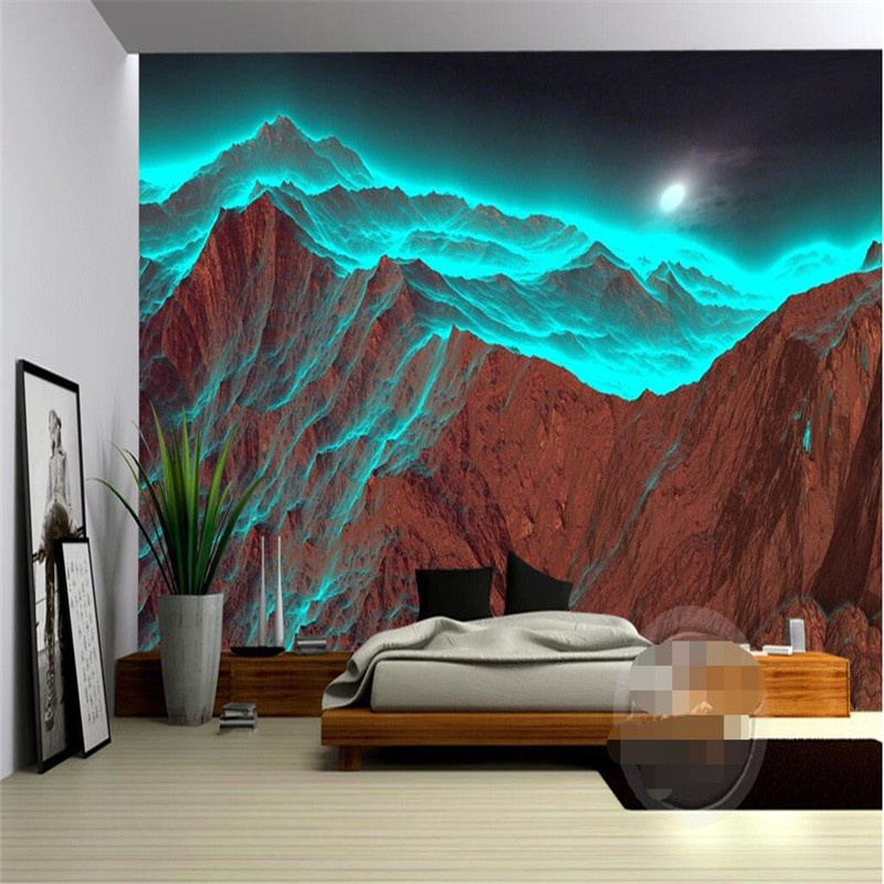 Beibehang Custom Photo Wallpaper Luxury Quality High-definition Night Mountain Radiation Strange Green Nature 3d Big  Background