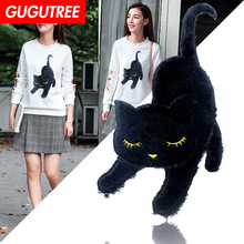 GUGUTREE embroidery big black cats patches animal badges applique for clothing XC-351