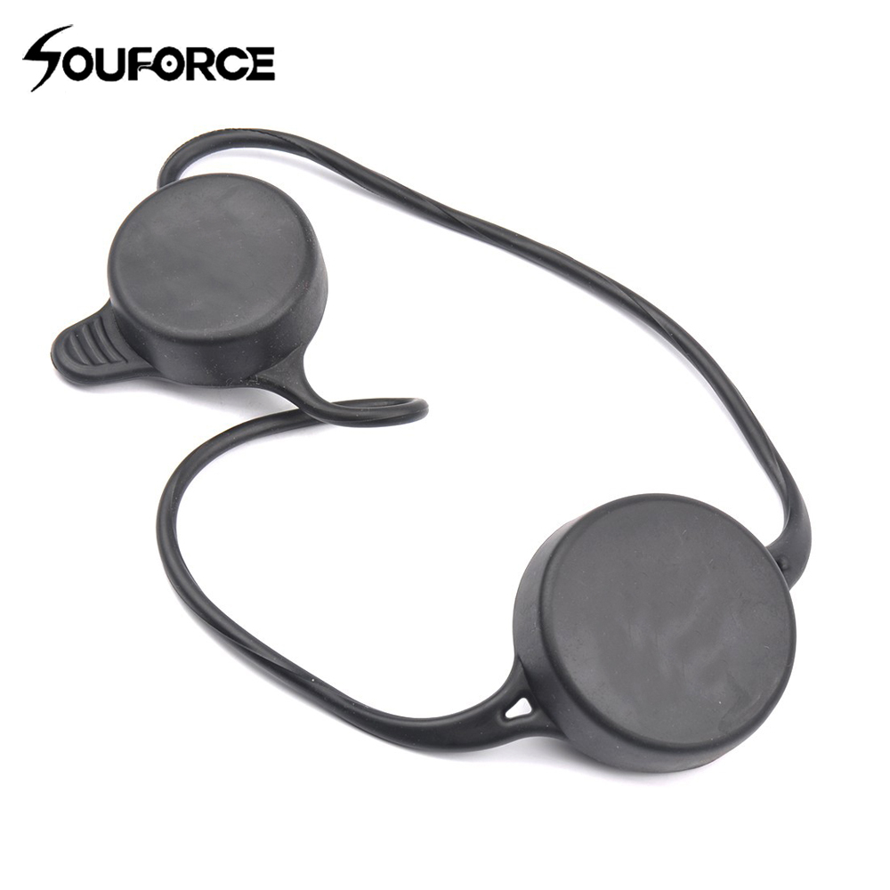 Black 50mm&40mm Anti-dust Scope Lens Cover Waterproof Cover Flip Cap Soft Elastic Rubber Quick Release For Gun Scope