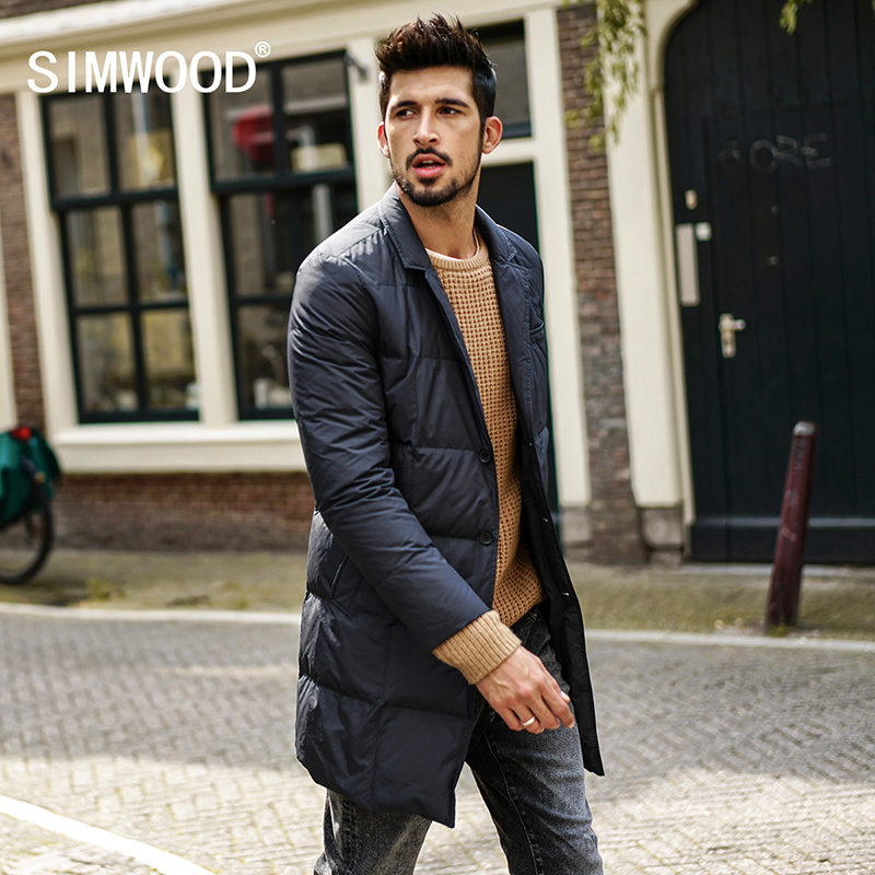Simwood 2017 Winter Men Coats Fashion Long Windbreaker Jackets Black Coats Plus Size 3XL Brand Clothes High Quality YR017006