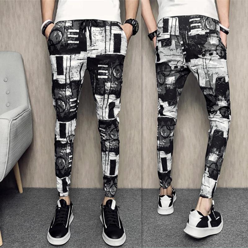 2018 fashion British summer casual men's nine pants pants feet pants Hong Kong Slim trend printing pants