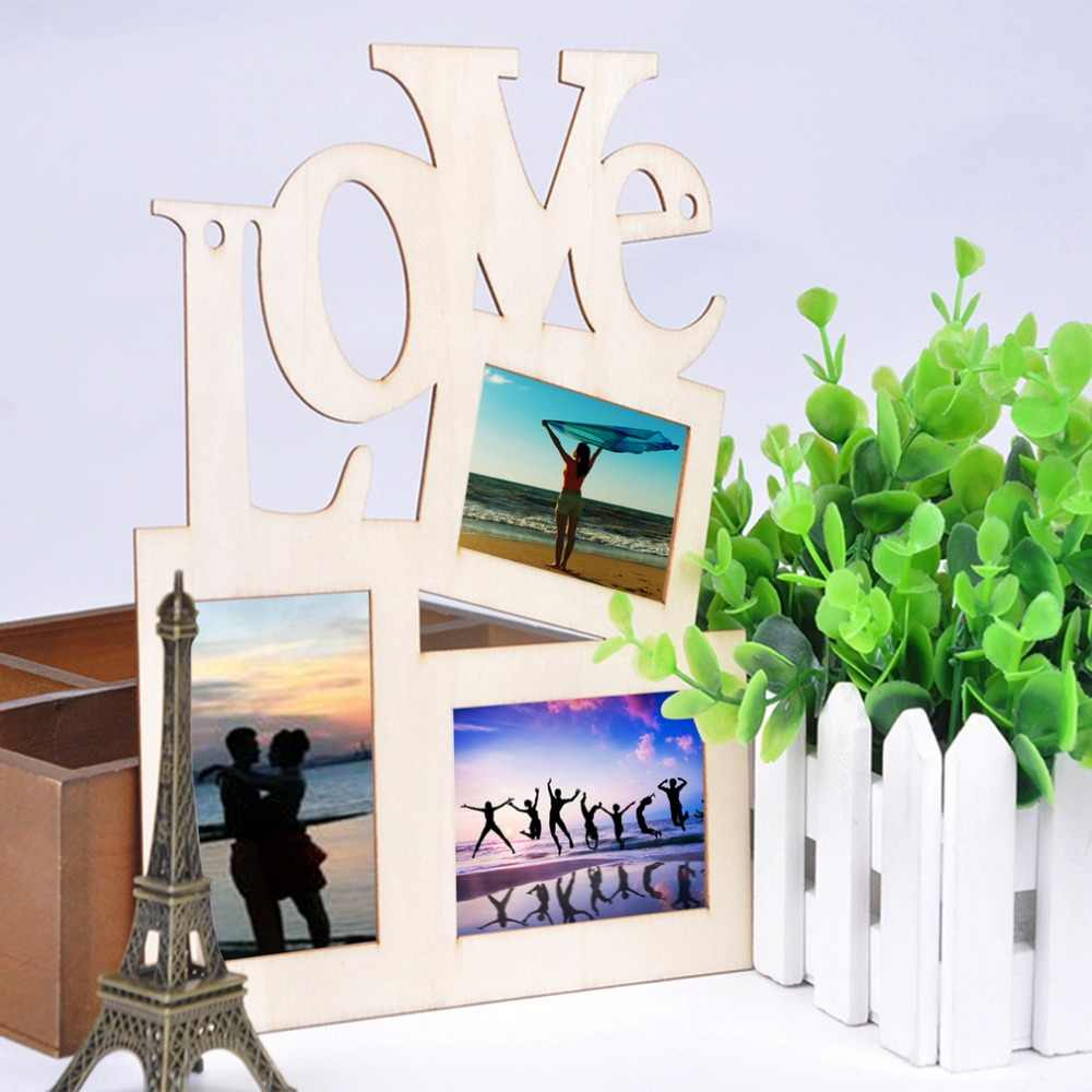 OUTAD 3 Boxes Hollow Love Wooden Picture Frame Art Decor Modern Wall Photo Frames Vintage photo Picture Frame Frames Home Decor