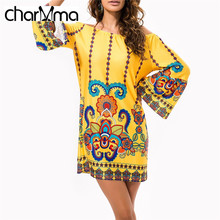 charMma 2017 Spring New Bohemian Sheath Bodycon Dress Ethnic Off The Shoulder Tropical Printed Beach Vestido Femme Mini Robe 3XL
