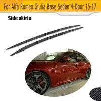 Carbon Fiber Add On Side Skirts Bumper Aprons Sticker For Alfa Romeo Giulia Sedan 4 Door