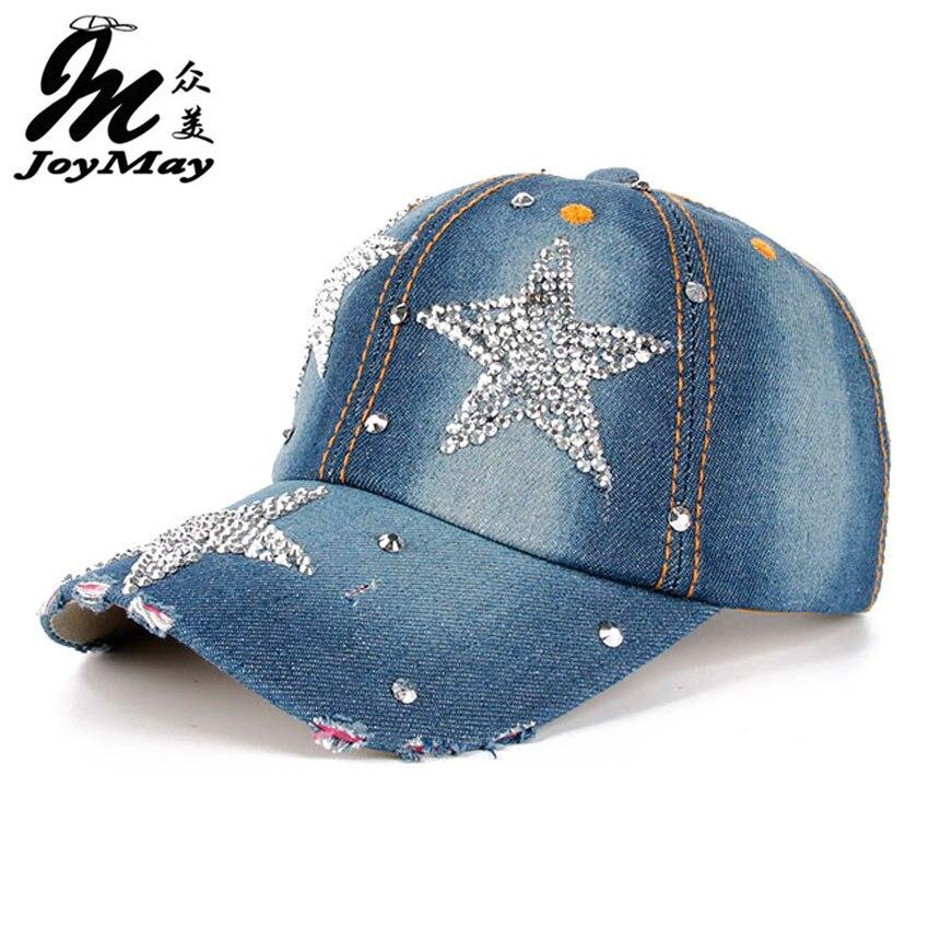 High quality JoyMay Hat Cap Fashion Leisure Cross Cap Rhinestones STAR Jean  Cotton CAPS Baseball Cap 1eb2585b4dc2