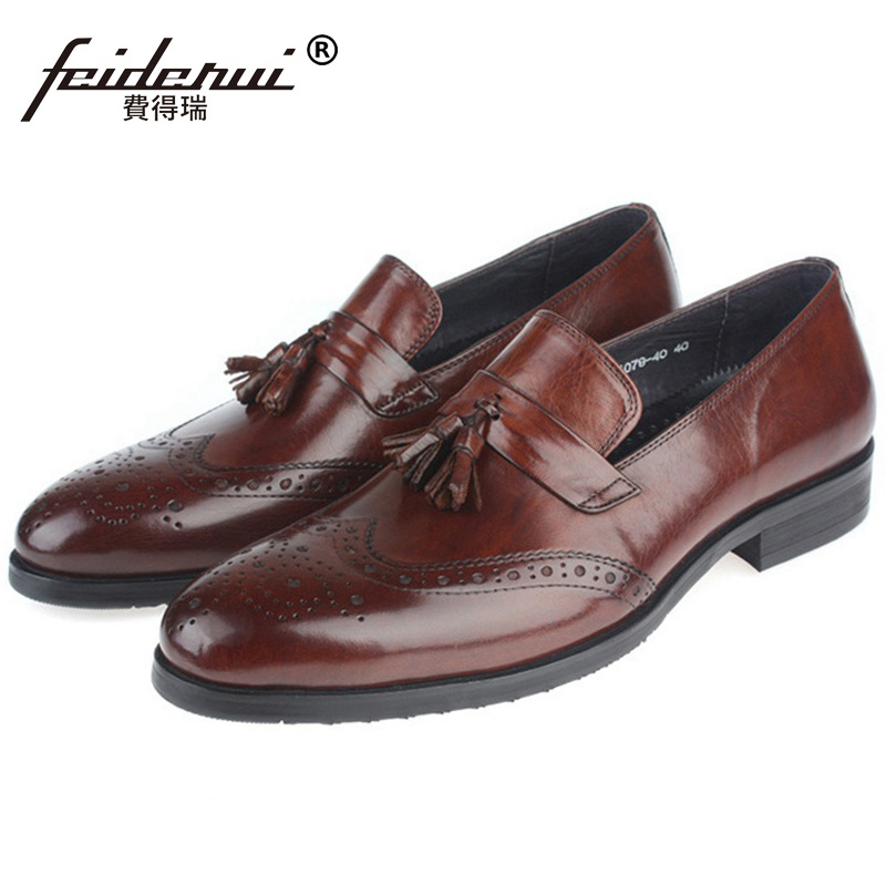British Designer Wing Tip Brogue Man Formal Dress Shoes Male Genuine Leather Carved Loafers Round Toe Men's Tassels Flats SF35 ruimosi high quality wing tip man dress