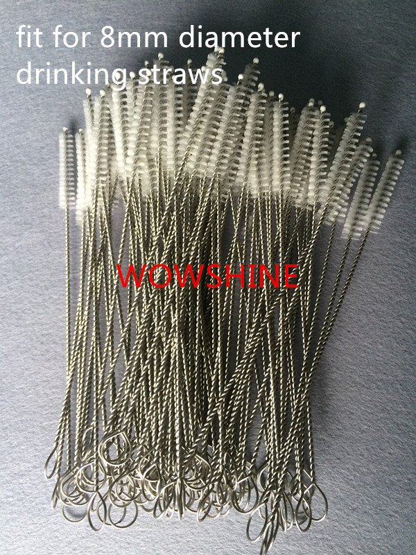 Free Shipping 50pcs/lot Good Quality Thickened Stainless Steel Straw Brush Fit For 8mm Diameter Drinking Straws Length 260MM