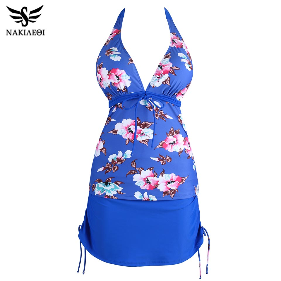 NAKIAEOI 2018 New Tankinis Swimsuit Women Plus Size Swimwear Two Piece Swimsuit Push Up Bikini Set Halter Tankini Bathing Suits