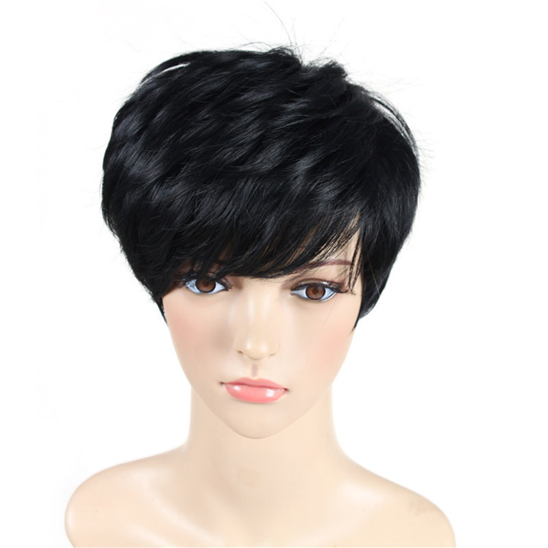 Soloowigs Kinky Straight Women Black Full Lace Wigs Högtemperatur - Syntetiskt hår