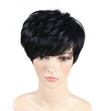 Soloowigs Kinky прямі жінки чорні повні мереживні парики високої температури волокна синтетичні панчішні для середньої дами
