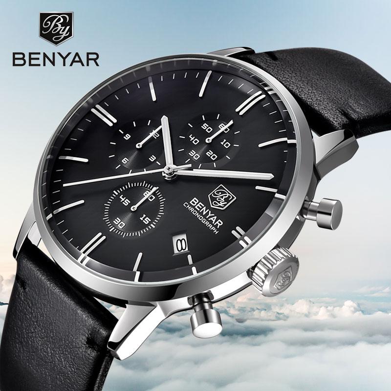 BENYAR Men s Watch Top Fashion Luxury Men s Watch Chronograph Calendar Waterproof Military Watch Leather