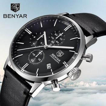BENYAR Men's Watch Top Fashion Luxury Men's Watch Chronograph Calendar Waterproof Military Watch Leather Sport Relogio Mascu
