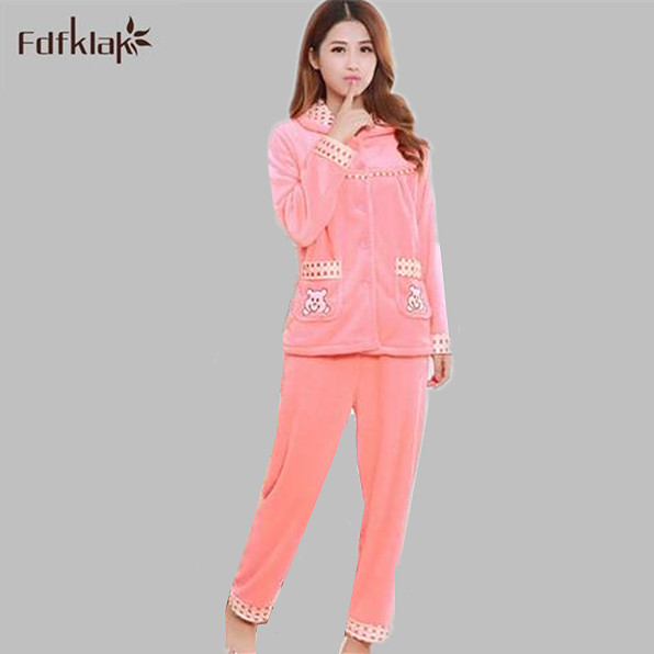 c070238666ab32 Dorosłych piżama zima piżamy flanelowe zagęszczające kobiety pijamas komplety  piżamy bielizna nocna kobiet z długim rękawem ciepłe mujer Q463