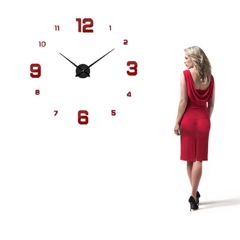 Freeshipping 2020 ახალი სახლის დეკორაცია დიდი სარკის კედლის საათის თანამედროვე დიზაინით 3D DIY დიდი დეკორატიული კედლის საათები უყურებს უნიკალურ საჩუქარს