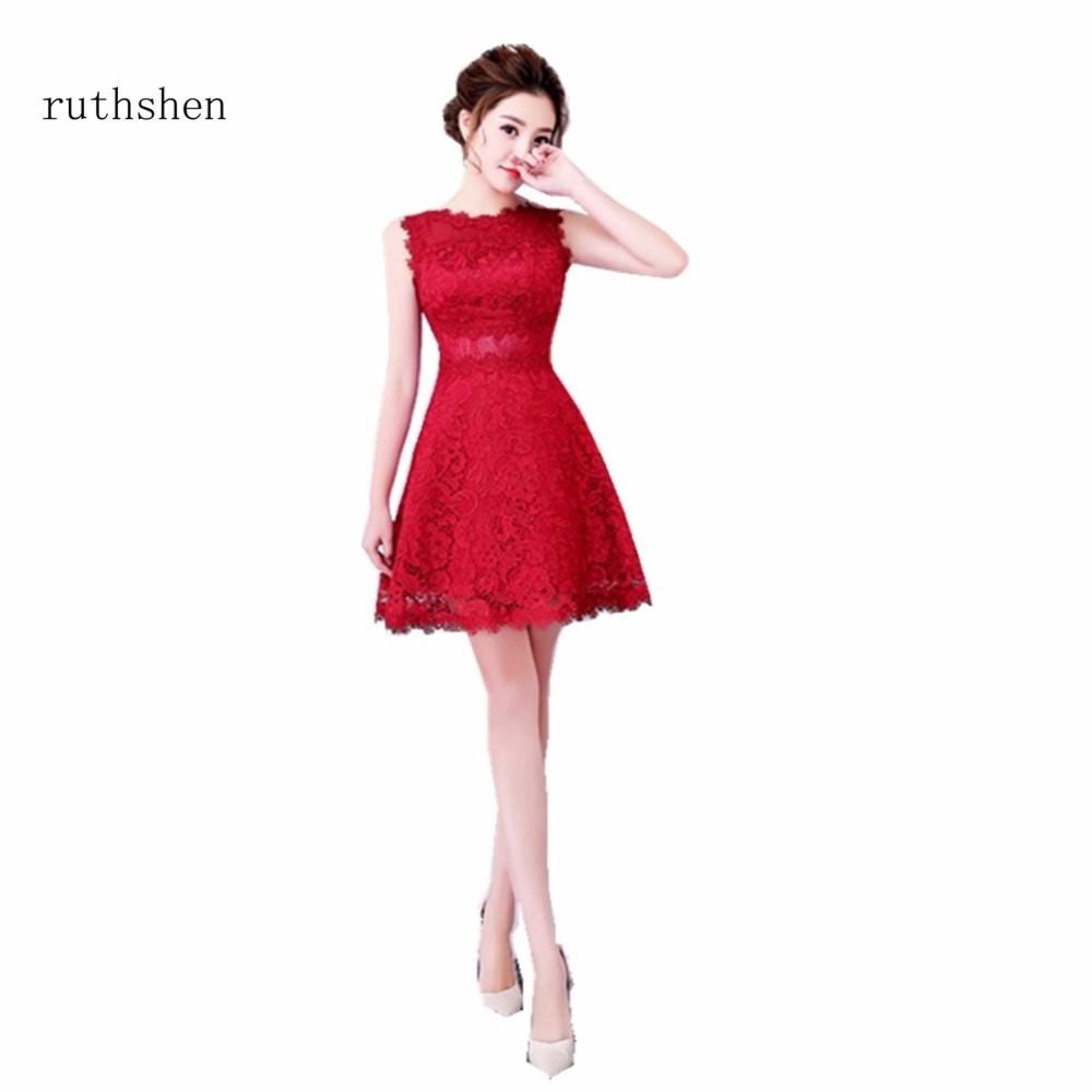 ruthshen Luxury Short Length   Cocktail     Dresses   Sleeveless Lace Red Party Gowns For Special Occasions Vestidos Coctel 2018