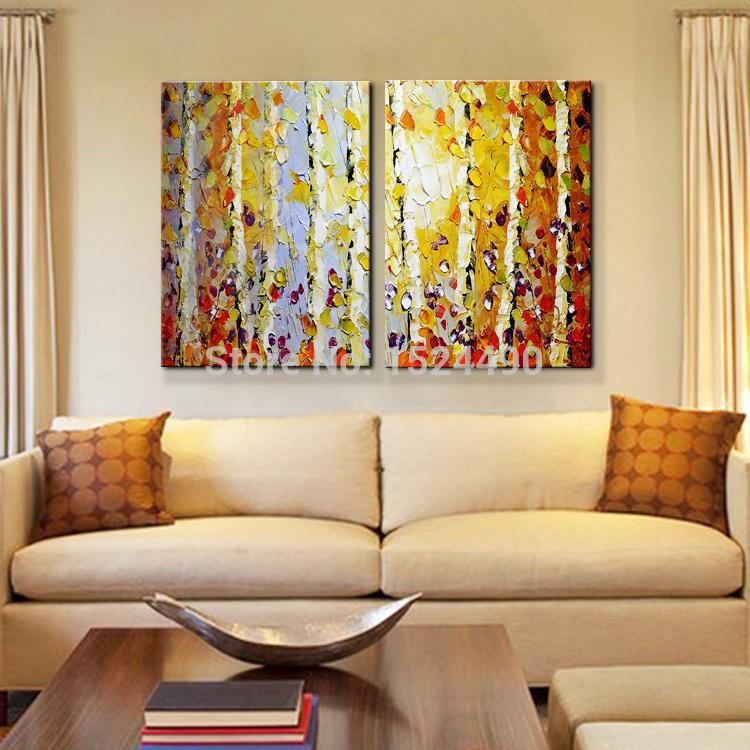 Handpainted modern home decor painting living room hall wall art picture thick colors tree - Wall paintings for living room ...