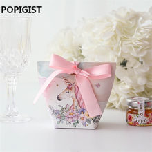 50pcs Creative Wedding Favors Rabbit Deer Couple Flamingo Unicorn Candy Boxes Bomboniera Party Gift Box sugar chocolate package(China)