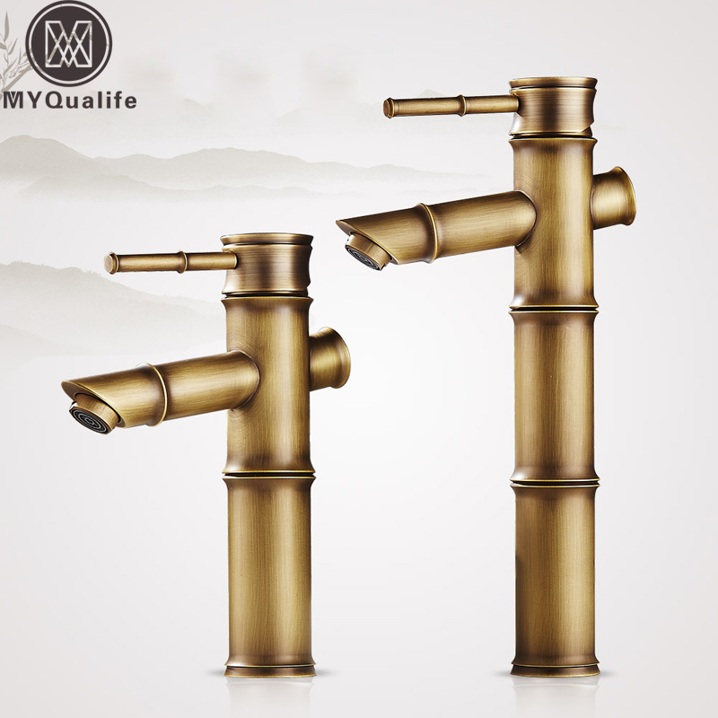 цена на Antique Brass Bamboo Bathroom Sink Faucet Lavatory Vessel Sink Hot and Cold Water Crane Taps Deck Mount One Handle