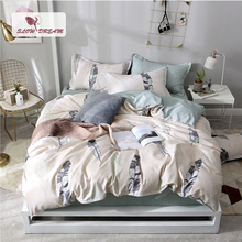 SlowDream Leaves Pattern Bedding Set Fitted Sheet Textiles Stylish Home 3/4PCS Elastic Bed Cover Bedclothes