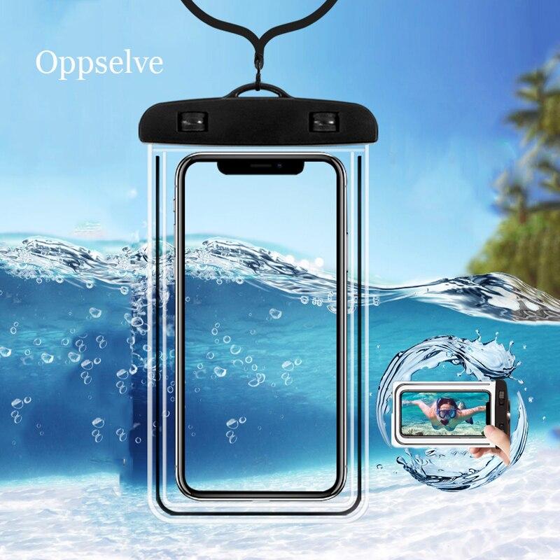 Capa de celular para iphone, capa de celular à prova d' água de pvc para iphone 11 x xs max 8 7 samsung s9 capa seca do saco do telefone