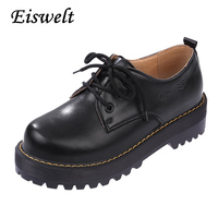 2016 British Style Women Oxfords New Spring Winter Lace Up Flats Round Toe Creepers Casual Ladies