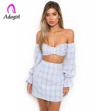 Slash neck Dress crop tops + slim dress suit corset with button puff sleeve off shoulder straight dress plaid cotton vestido