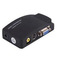 PC Laptop Composito Video TV RCA Composito S-Video AV-In Per PC LCD VGA Out Adattatore Switch Box Nero Spina DEGLI STATI UNITI commercio all'ingrosso