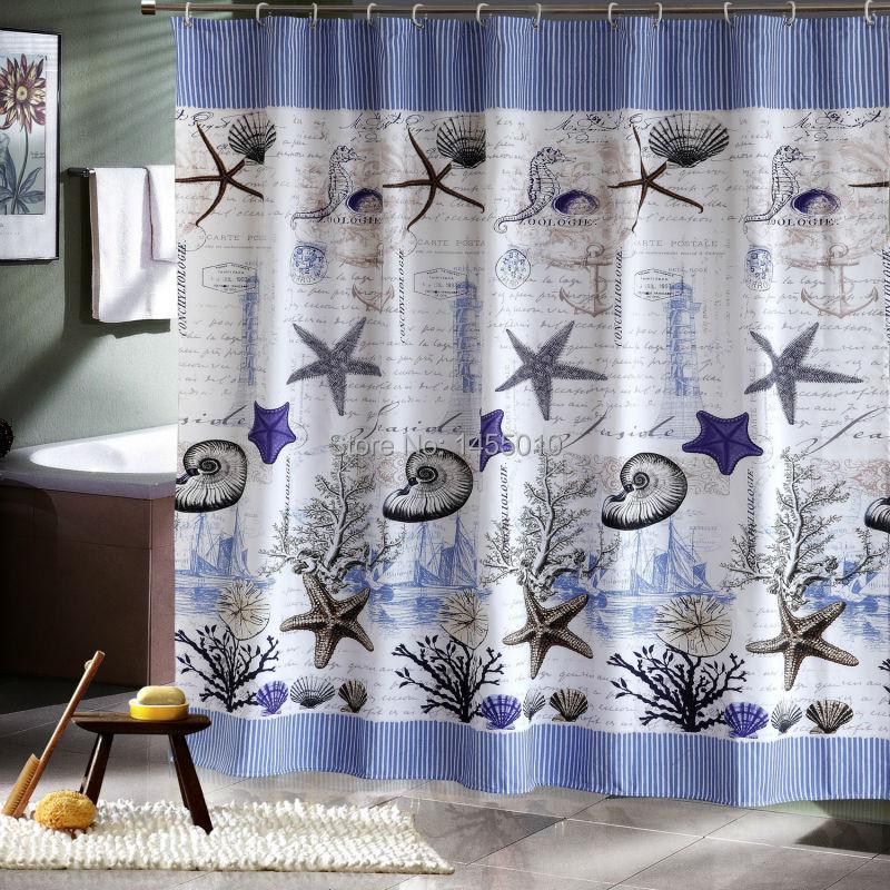 해피 트리 폴리 에스테르 푸른 바다 생활 조개 방수 샤워 커튼 두꺼운 패브릭 욕실 커튼 블루 목욕 커튼.