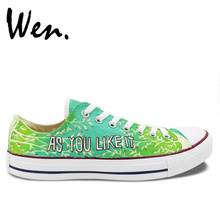 Wen Green Hand Painted Shoes Design Custom As You Like It Birthday Gifts Men Women's Low Top Canvas Sneakers