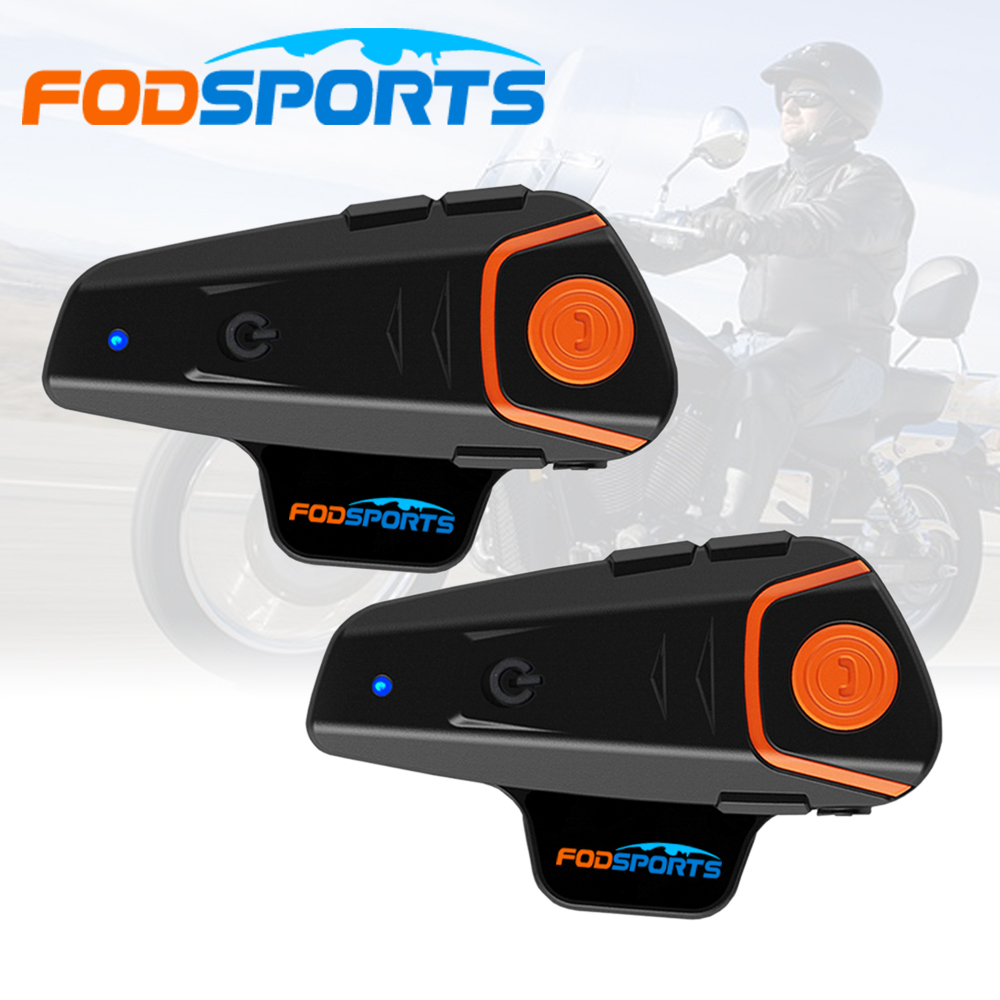 Fodsports 2 pcs BT-S2 Pro motorcycle helmet intercom motorbike wireless bluetooth Headset waterproof BT Interphone with FM