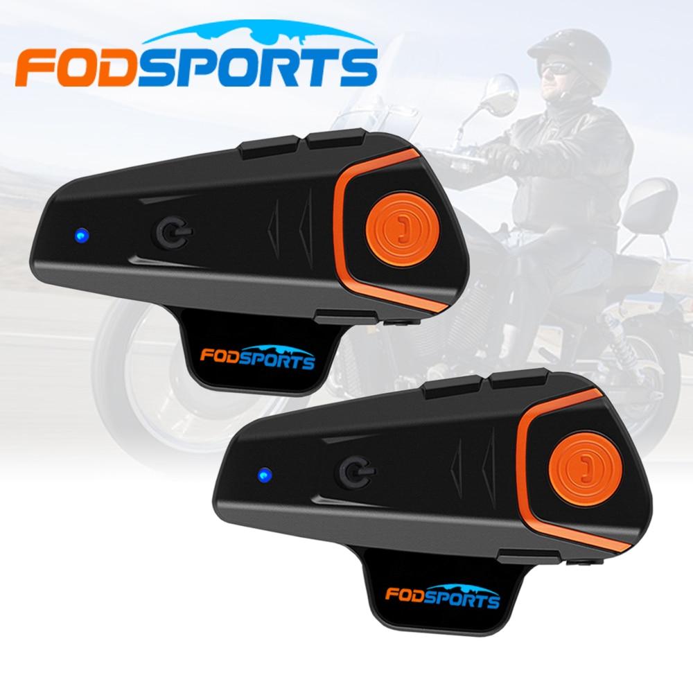 Fodsports 2 pièces BT-S2 Pro casque de moto Interphone moto sans fil bluetooth casque étanche BT Interphone avec FM