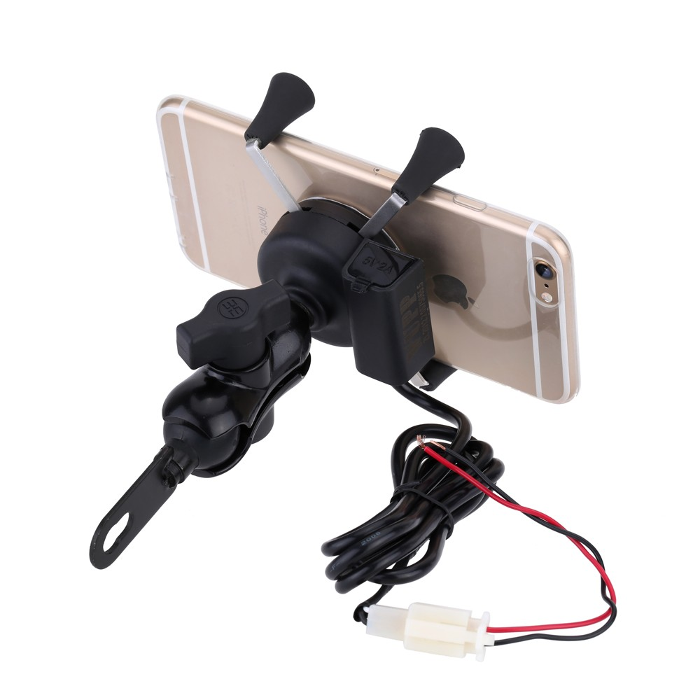 Motorcycle Stand X-Grip Holder 12V USB Charger Power Outlet Socket for iPhone 6/6 Plus GPS Samsung HTC Sony Smart Phones