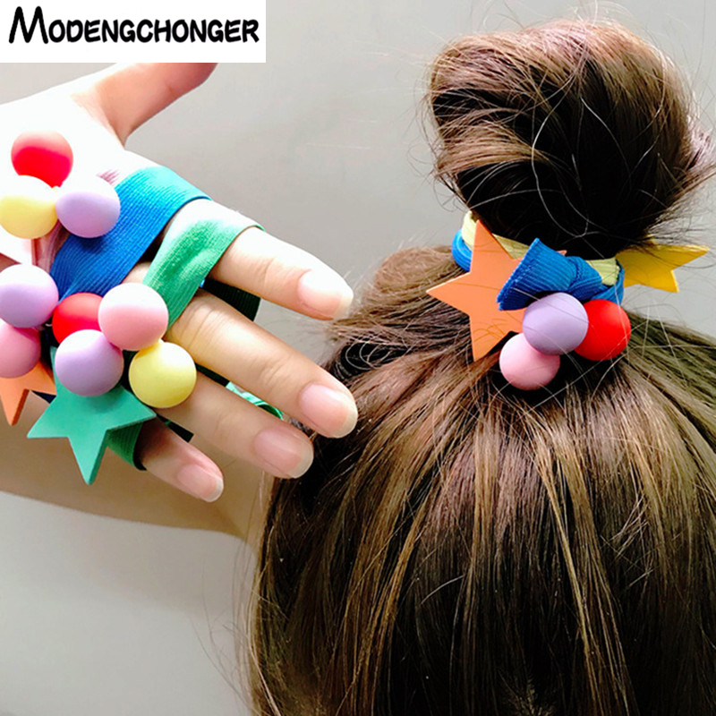 Brown Shades Braid Girl Kids Scrunchie Beads Hair Tie Ball Ponytail Holder Band