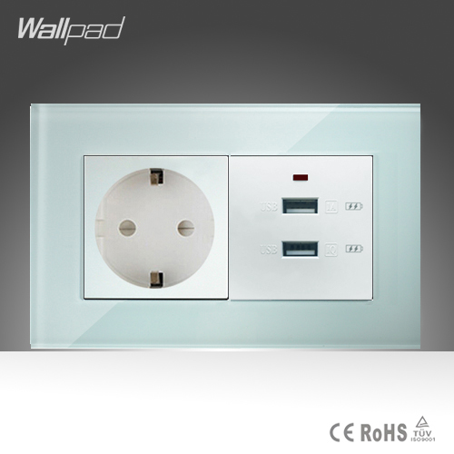 Double 3.0 USB and EU Socket Wallpad 146*86mm BS CE White Crystal Glass European Socket and Double 3.0 USB Fast Charger Ports 15a 16a south africa socket and double ubs socket wallpad 146 86mm white glass 2 usb ports and 16a sa switched socket with led