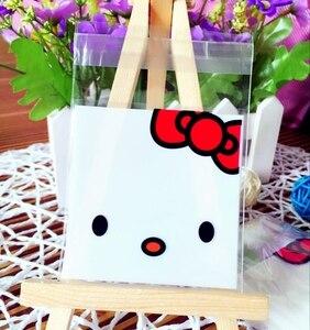 Новый стиль пакет для выпечки Hello Kitty Resealable мешок образец мешок торт/хлеб/Сумка для еды сладостей 7*7 + 3 см 300 шт