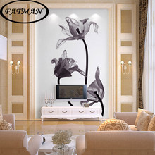 Custom photo wallpaper monochrome beautiful flowers wallpaper study restaurant sofa background corridor wallpaper mural(China)
