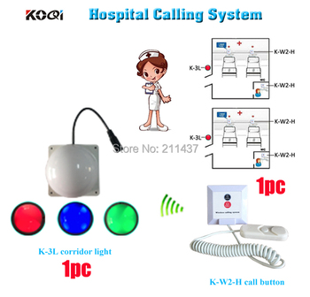 Nuring home elderly calling system K-W2-H installed on each elderly bed and room light for nurse from outside DHL free s
