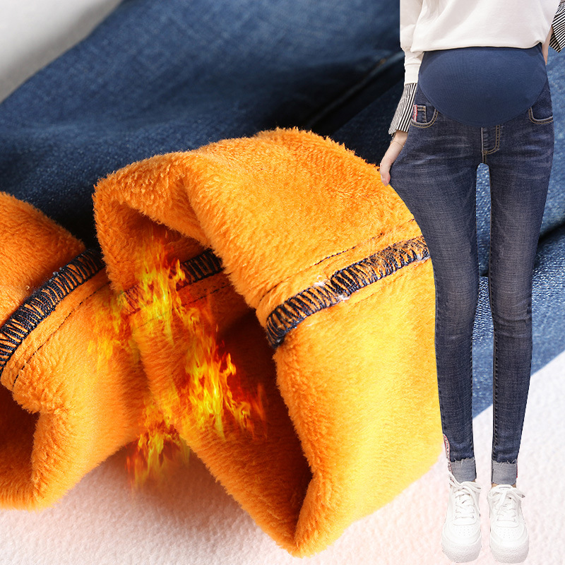Winter Materity Pants Skinny Trousers For Pregnant Women High Waist Belly Band Thick Bruched Maternity Jeans Maternidad Clothes