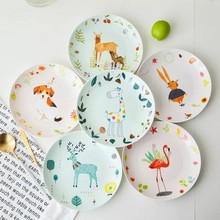 Bone china plate dish cute meal children feeding painted personality round cartoon creative tableware