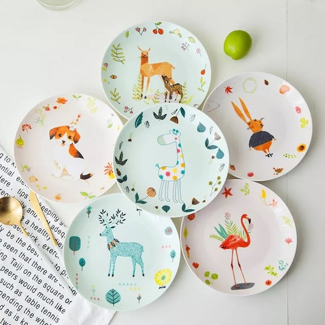 Bone china plate dish cute dish meal children feeding plate painted personality round cartoon children creative tableware