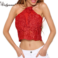 Colysmo New Women Elegant Lace Crop Top Summer Beach Backless Short Halter Tops Sexy Camis Gauze