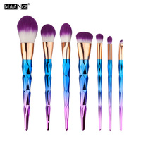7pcs Set Diamond Rainbow Handle Makeup Brushes Foundation Eyshadow Blusher Powder Blending Cosmetic Purple Soft Head